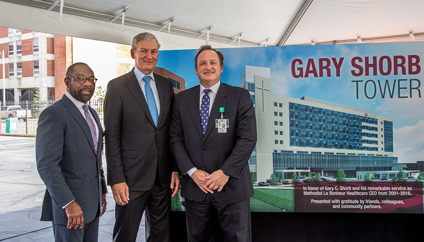 MLH CEO Michael Ugwueke, former MLH CEO Gary Shorb, and Jimmie Mancell, MD, during the MUH Tower Naming Ceremony.