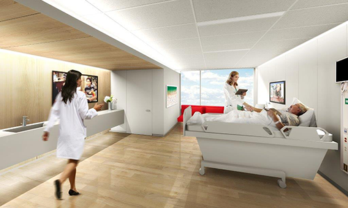 Rendering of the new transplant patient rooms.