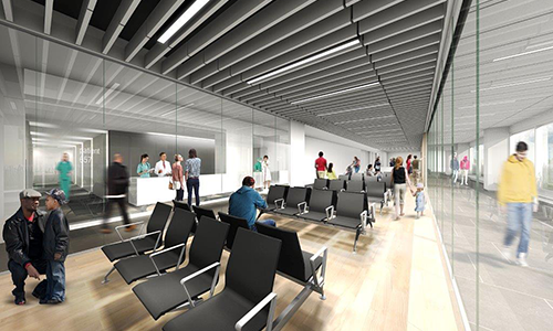 Rendering of the new 4th Floor waiting room