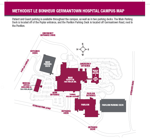 Campus map of Methodist Le Bonheur Germantown Hospital