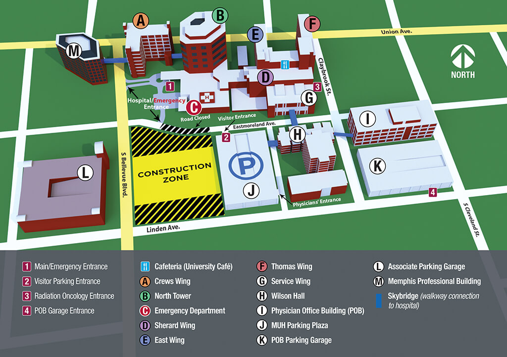 Campus map of Methodist University Hospital